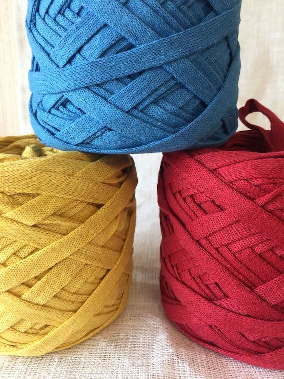 Recycled cotton ribbon chunky yarn, crochet bulky knitting yarn, spaghetti  basket yarn, round rug yarn, upcycled home textile yarn,
