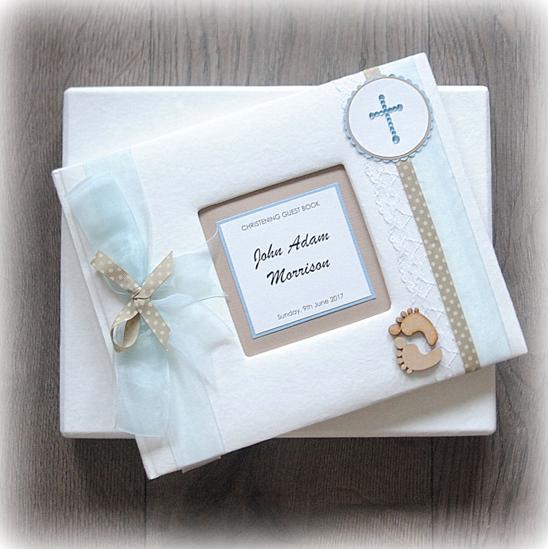 Personalised luxury scrapbook photo album guestbook 50 pages baby boy design