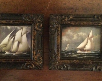 Pair of HAND PAINTED MINIATURES on prints of ships.