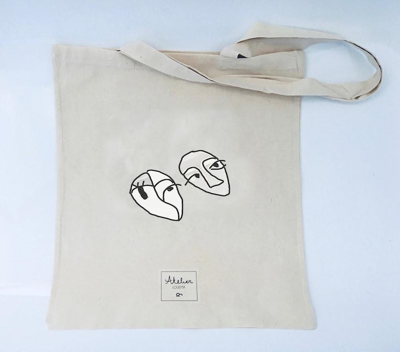 Coton bag Line Face Art Tote bag Strasbourg