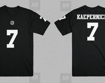 abae8d97a Colin Kaepernick Black Out Jersey Style NFL Tee Adult Unisex T Shirt