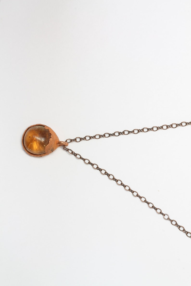 Amber Crystal Necklace Handmade Copper