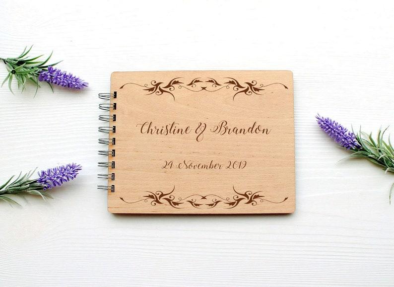Wedding Guest book Personalised Wooden Guest Book Romantic Photo Album Script Book Rustic Guest Book Elegant Guestbook Wedding Book