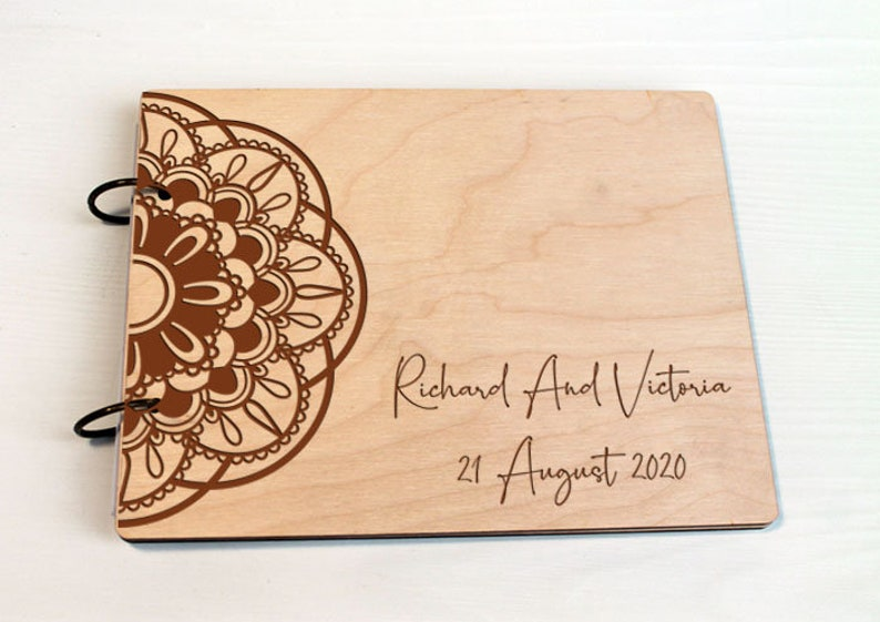 Gues book Wooden Advice Book Medieval Wedding Guest book Celtic Wedding Guest book Celtic wedding Mandala Custom personalized guest book