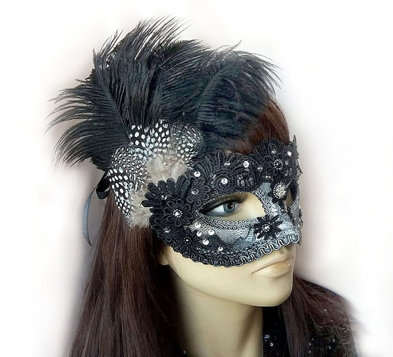 Express Post Available Black Lace Venetian Masquerade Party Mask With Feather