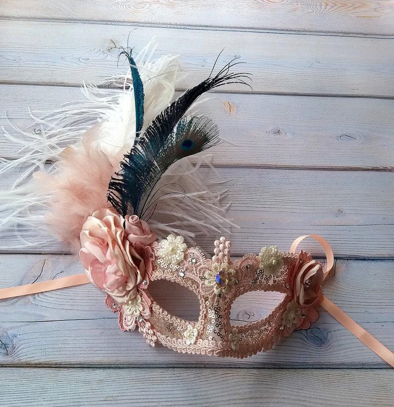 Womens Mask Blush Masquerade Mask Mardi Gras Masks Peacock Feather Mask