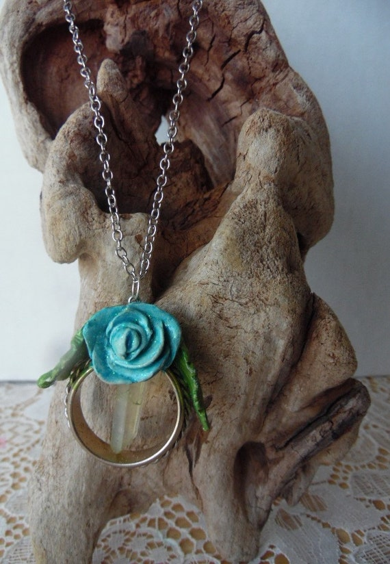 Crystal Necklace Healing Jewelry Lemurian Crystal Pendant with polymer clay flower and ladybug Ladybug Necklace