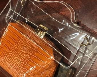 ccf78360cc21 Designer Inspired Herm Kelly Bag Transparent Vinyl Clear Top Handle  Messenger Tote Purse