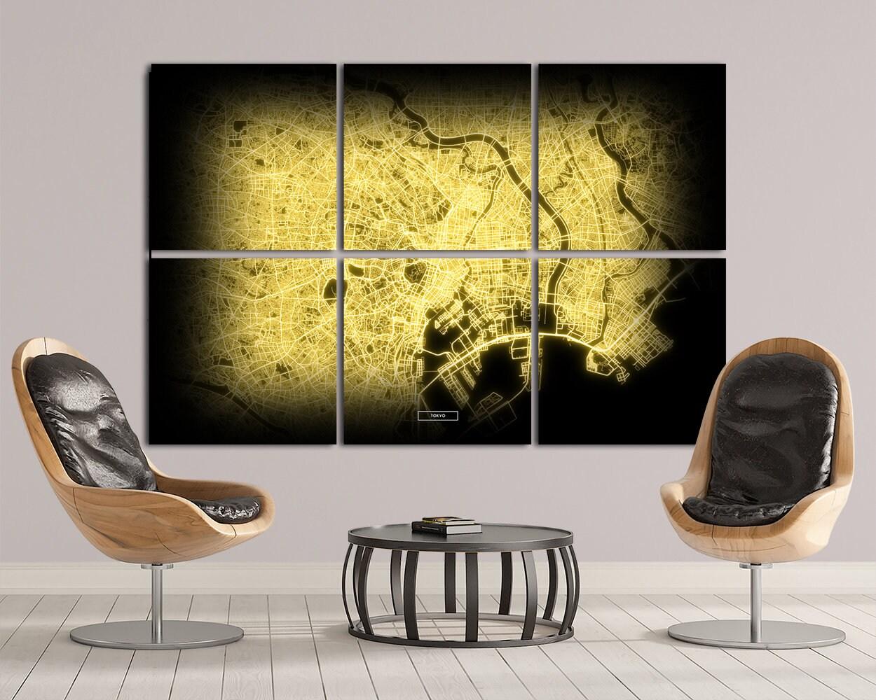 TOKYO Map 6 Canvas Panel Tokyo Japan Night Lights Module Map | Etsy