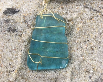 Spiral-wrapped Seaglass Necklace