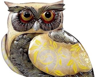 Snow Owl Figurine with Capiz Shells
