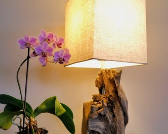 Driftwood Block Table Lamp With Shade