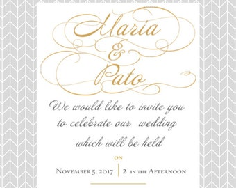 Simple invitations etsy simple and elegant gold font wedding invitations stopboris Gallery