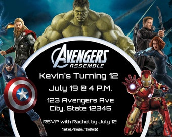 Avengers Assemble 12th Birthday Invitation For All Ages