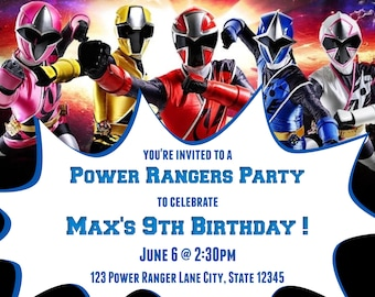 9th Birthday Power Rangers Ninja Steel Party Invitations Invitation For All Ages