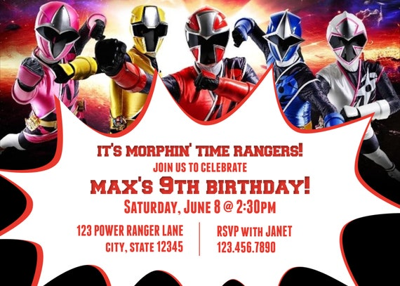 9th Birthday Power Rangers Ninja Steel Birthday Party Invitations Power Rangers Invitation For All Ages