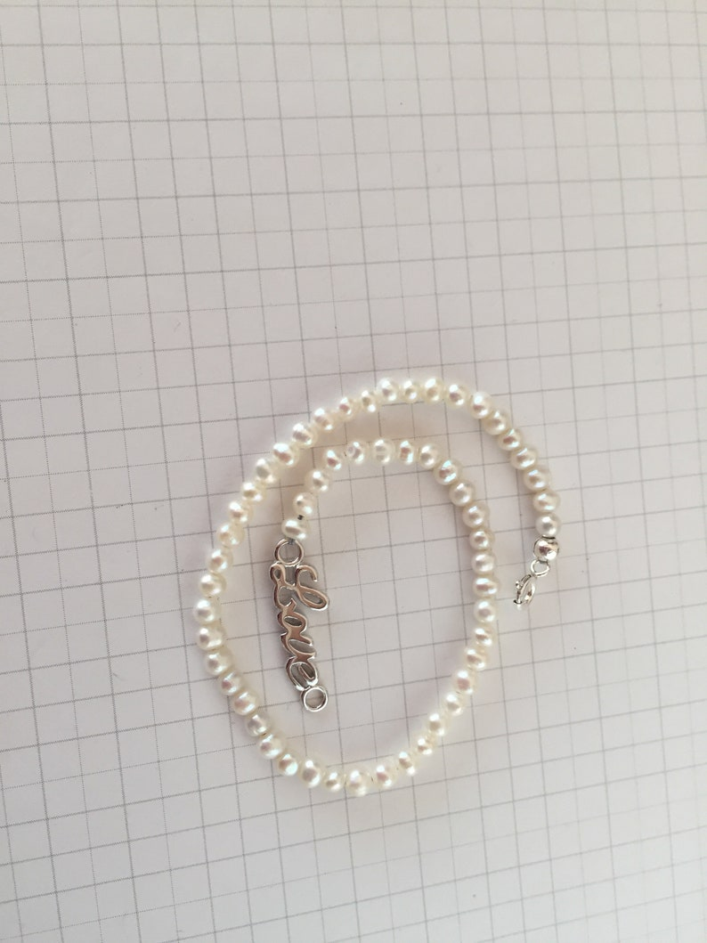 9\u201d Shining Mini White Pearl Anklet 925 Sterling Silver Love Connector Birthstone Gemstone Unique Handmade Jewelry Gift Minimalist Dainty