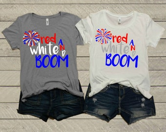 720e2280 Red White and Boom Ladies T-Shirt | Women's | 4th of July | Mom Life |  Summer | Vacation | Fireworks | Graphic Tee | Workout | Soft & Comfy