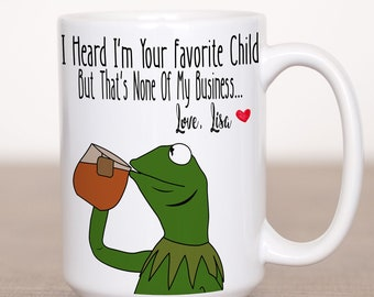 52992d37 I Heard I'm Your Favorite Child But That's None Of My Business -  Personalized Fathers Day Gift - Funny Dad Gift