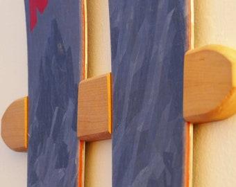 CHERRY WOOD CARVED Ski Wall Display Rack