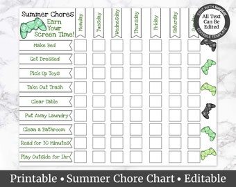 picture regarding Printable Screen Time Charts known as Display period chart Etsy