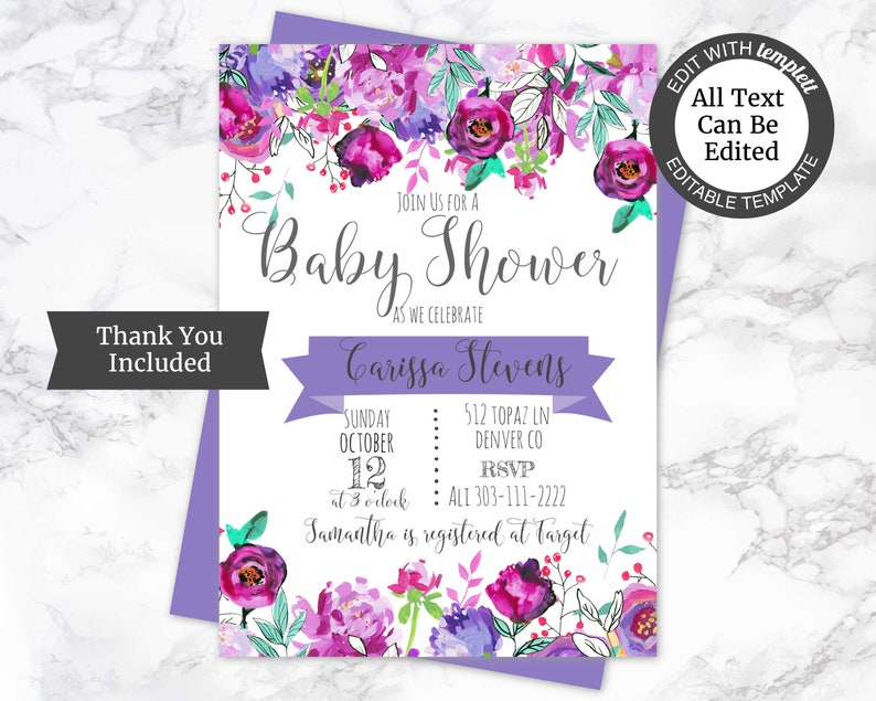 Floral Baby Shower Invitation Template Pink Shower Invite Purple Shower Invite Floral Baby Girl Shower Invite