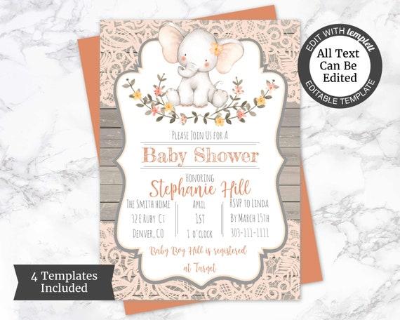 Elephant Baby Shower Invitation Template Girl Baby Shower Etsy