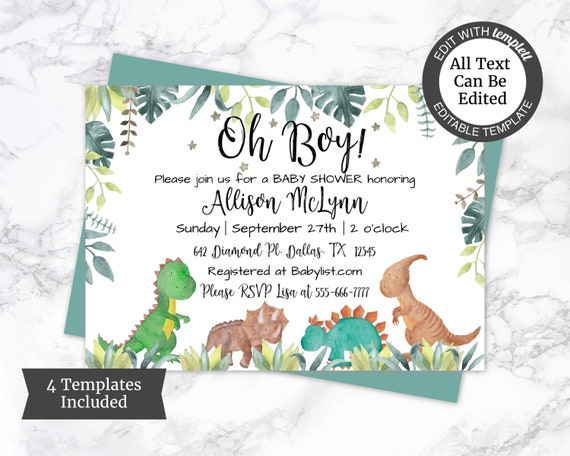 picture relating to Free Printable Dinosaur Baby Shower Invitations named Oh Boy! Kid Shower Invite, Dinosaur Kid Shower Invitation Template, Boy Youngster Shower Invitation, Dino Shower Invite