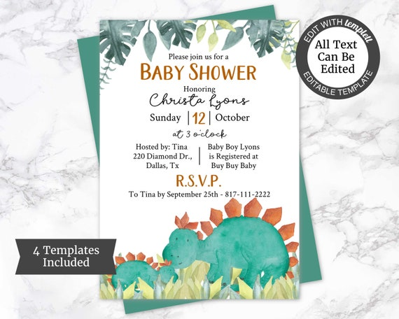 photo about Free Printable Dinosaur Baby Shower Invitations called Dinosaur Youngster Shower Invitation Template, Boy Kid Shower Invitation, Dino Boy or girl Shower Invite, Dino Shower Invite