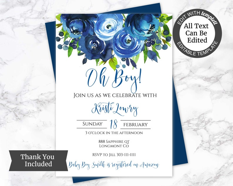 Floral Baby Shower Invitation Template Boy Baby Shower Etsy