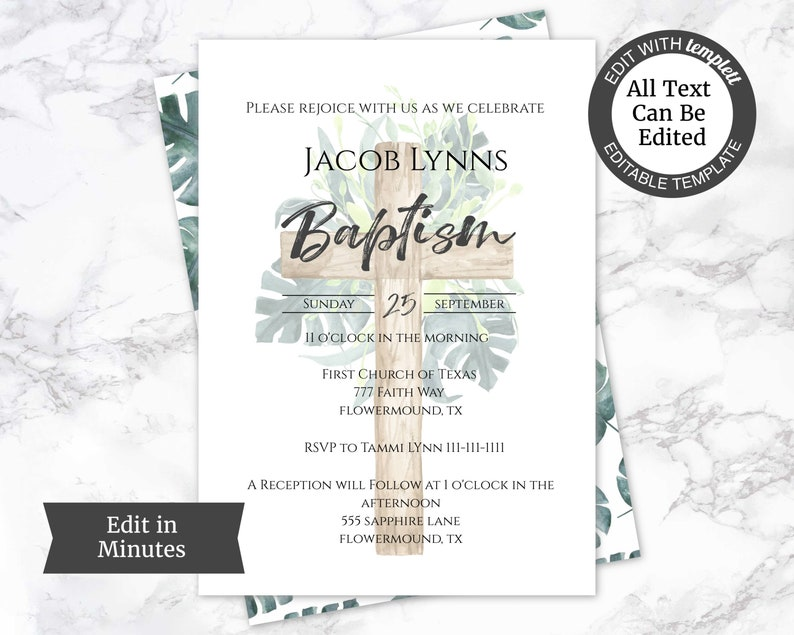 Baptism Boy Invitation Floral DIY Invite Cross Edit Yourself