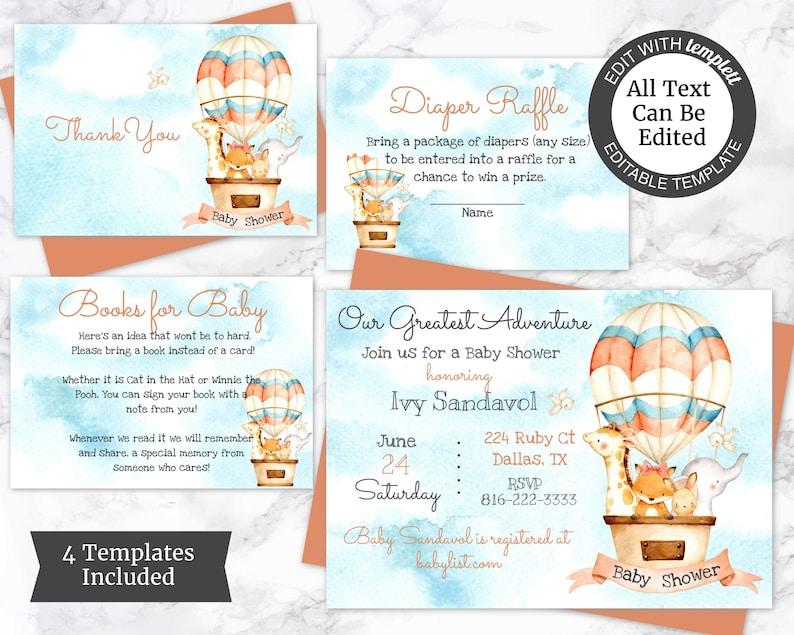 Girl Baby Shower Invite Animal Adventure Shower Invitations Adventure Baby Shower Invitation Template Hot Air Balloon Invite