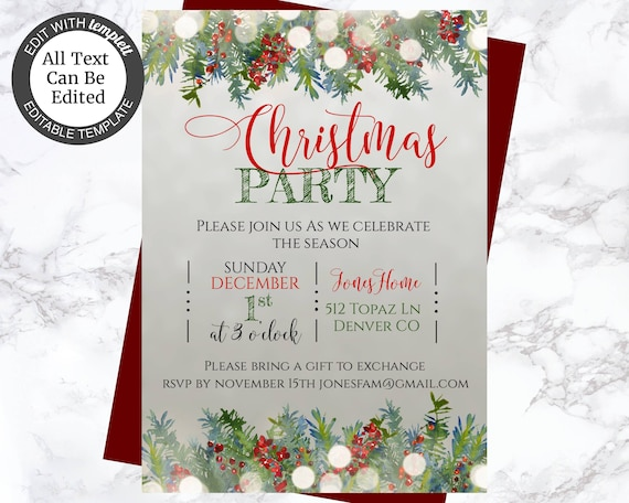 Classic Christmas Party Invitation Holiday Party Invite Printable Christmas Invite Rustic Christmas