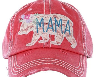 purchase cheap 11899 8141a MAMA BEAR Distressed   Faded Women s Hat