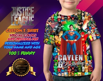 Justice League Shirt T Adult Party Birthday Personalized