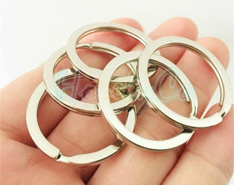 wholesale 100 Pieces Lot silver bronzegold Plated 28mm or 30mm stainless double Split key ring with chain