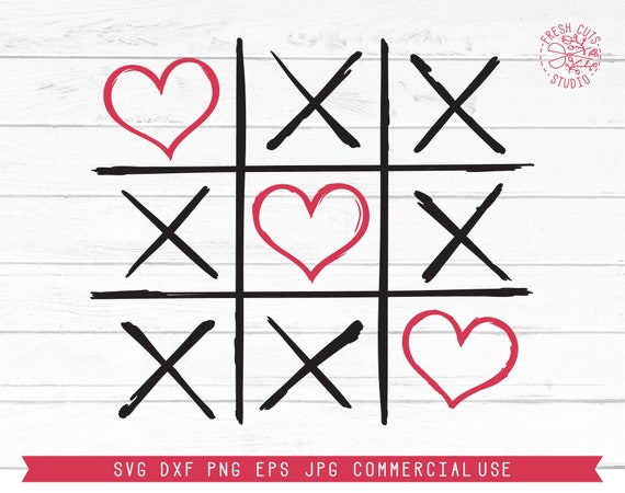 Valentine Xoxo Heart Tic Tac Toe Svg Cut File Xo Svg Design Etsy