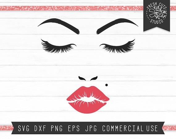 Makeup Svg Face Cut File Red Lipstick Svg Eyelashes Svg Etsy