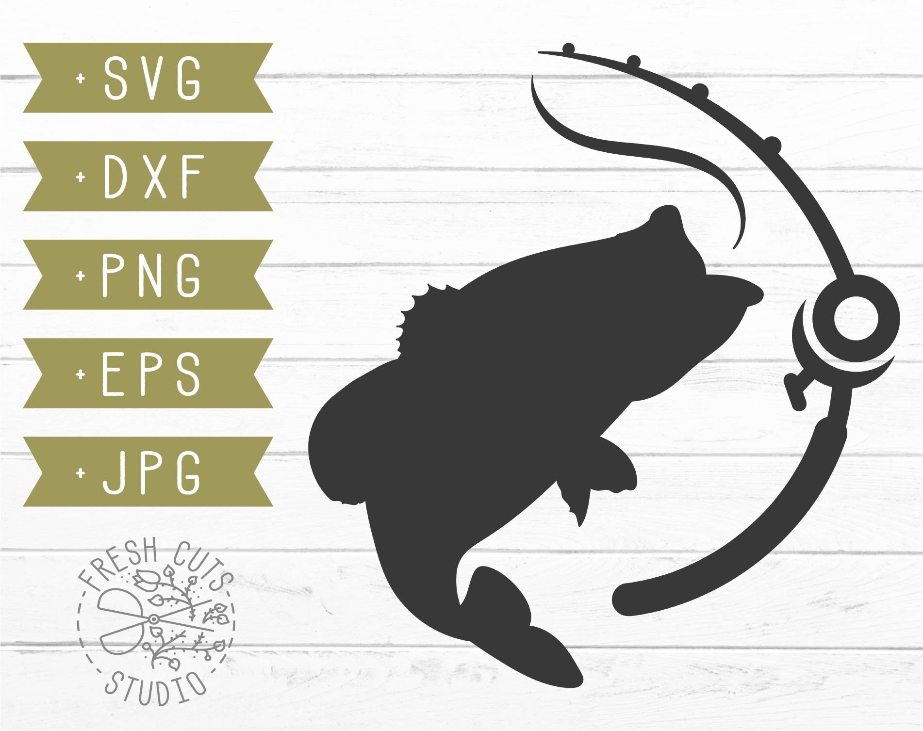 Download Fishing Pole Svg Cut File Instant Download Bass Fish Svg Etsy
