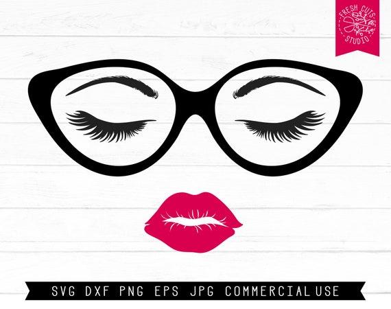 Eyeglasses Svg Lips And Lashes Svg Cut File Digital Design Etsy