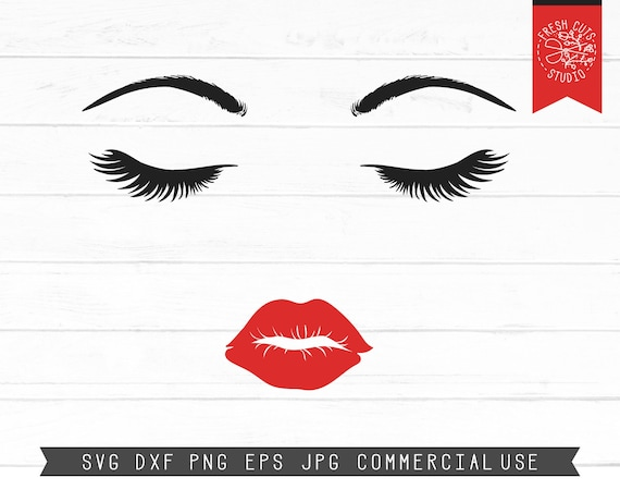 Lashes Svg Lashes And Lips Svg Red Lips Svg Cut File Instant Etsy