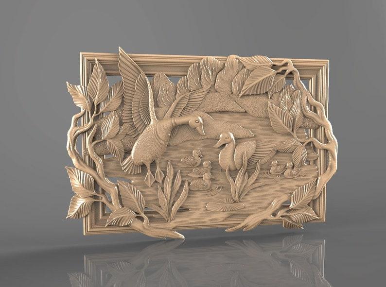 3D STL Model  for CNC Router Artcam Aspire Cut3d Panno Duck Decor