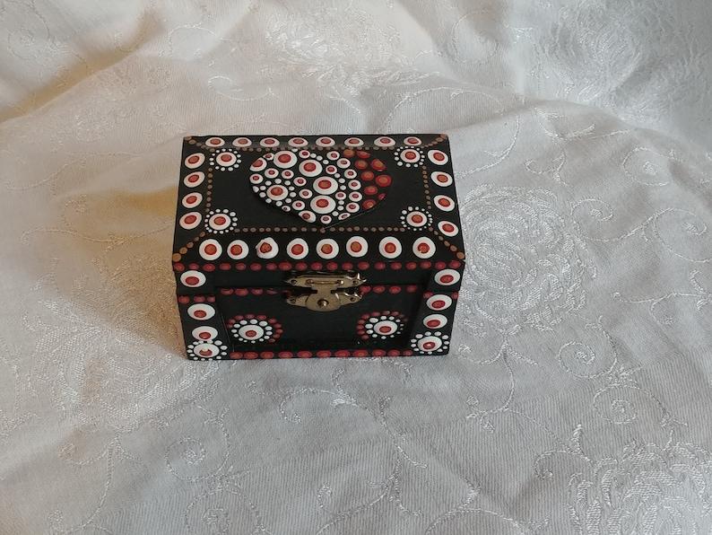 Hand Painted Red Heart Mandala Trinket Box