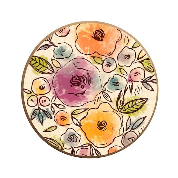 Colorful Drawer Knobs Decorative Dresser Knobs Watercolor Floral Knobs Kids Knobs Nursery Drawer Knobs Turquoise Pink Knobs Furniture Knobs
