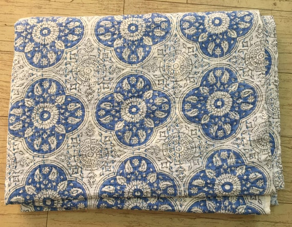 Indian Blue Check Print White Colour Handmade 100/% Pure Cotton Quilt Bedspread Kantha Throw