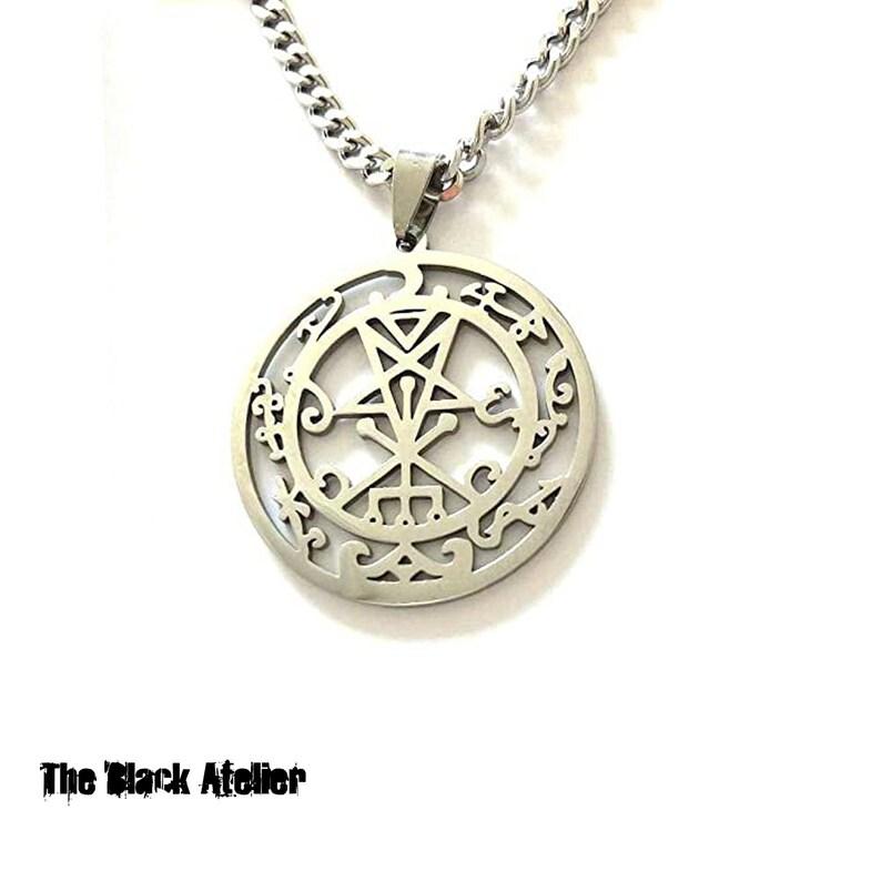 Lilith Sigil Satanic Female Demon sigil Lilith Seal Satanic Black Moon Satanic Gothic Pagan Occult Female Devil Necklace