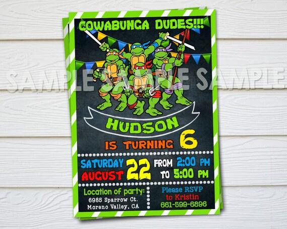 Ninja Turtle Invitation Ninja Turtles Party Tmnt Invitation Etsy