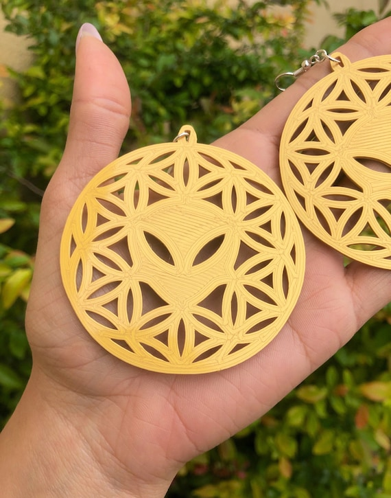 Medium Seed of Life Earrings 3D Printed Plant Based Plastic Made to Order Choose Your Color /& Hardware