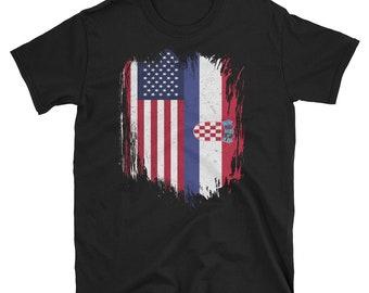 ffdabdf84 Grunge American Croatia Flag Short-Sleeve Unisex T-Shirt