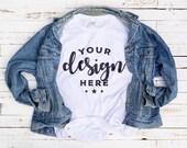 White Tshirt Mockup With Vintage Denim Jacket On Distressed Wood Background Hi Resolution 300 ppi Jpeg Image Print On Demand